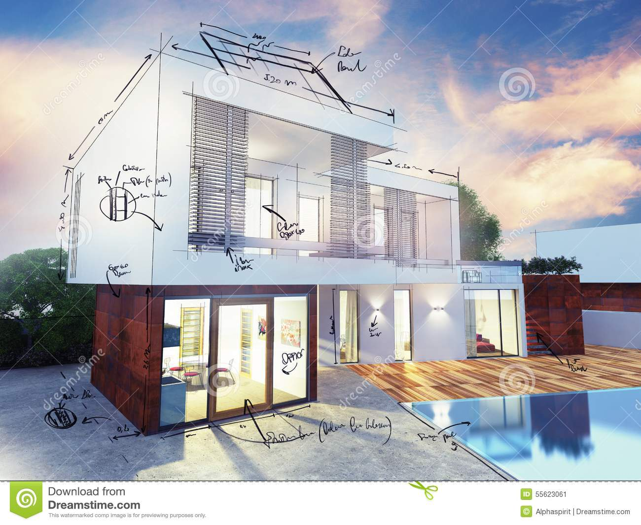 Luxury Villa Plan Stock Photo Image 55623061