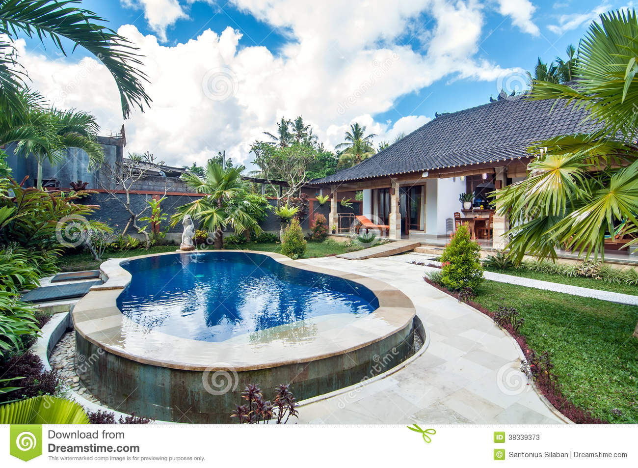 Luxury Villa With Pool Outdoor Stock s Image