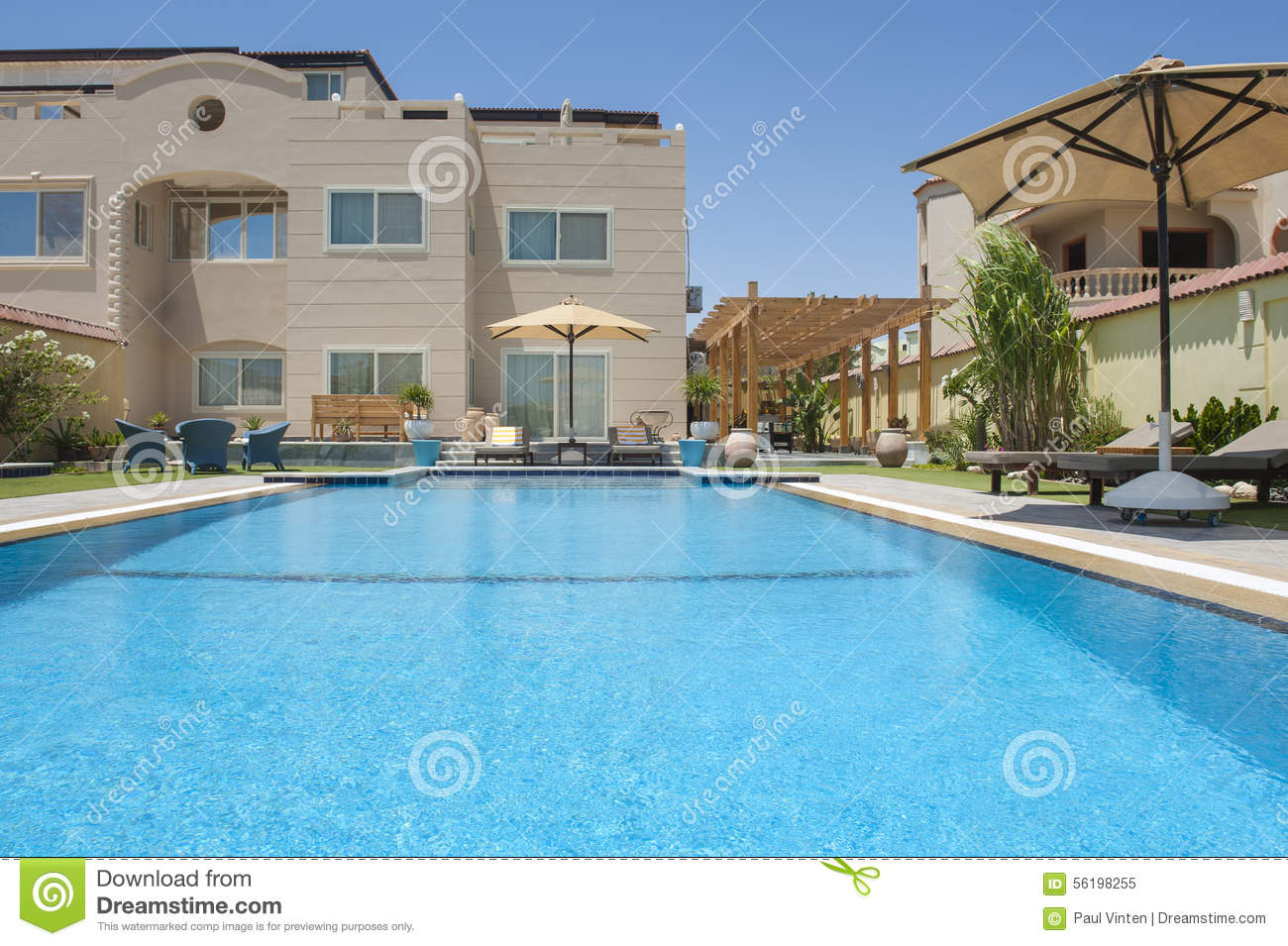 Luxury villa with a swimming pool stock photo image for Pool and garden show