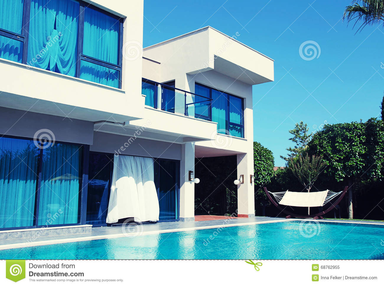 Luxury villa with swimming pool in a summer resort
