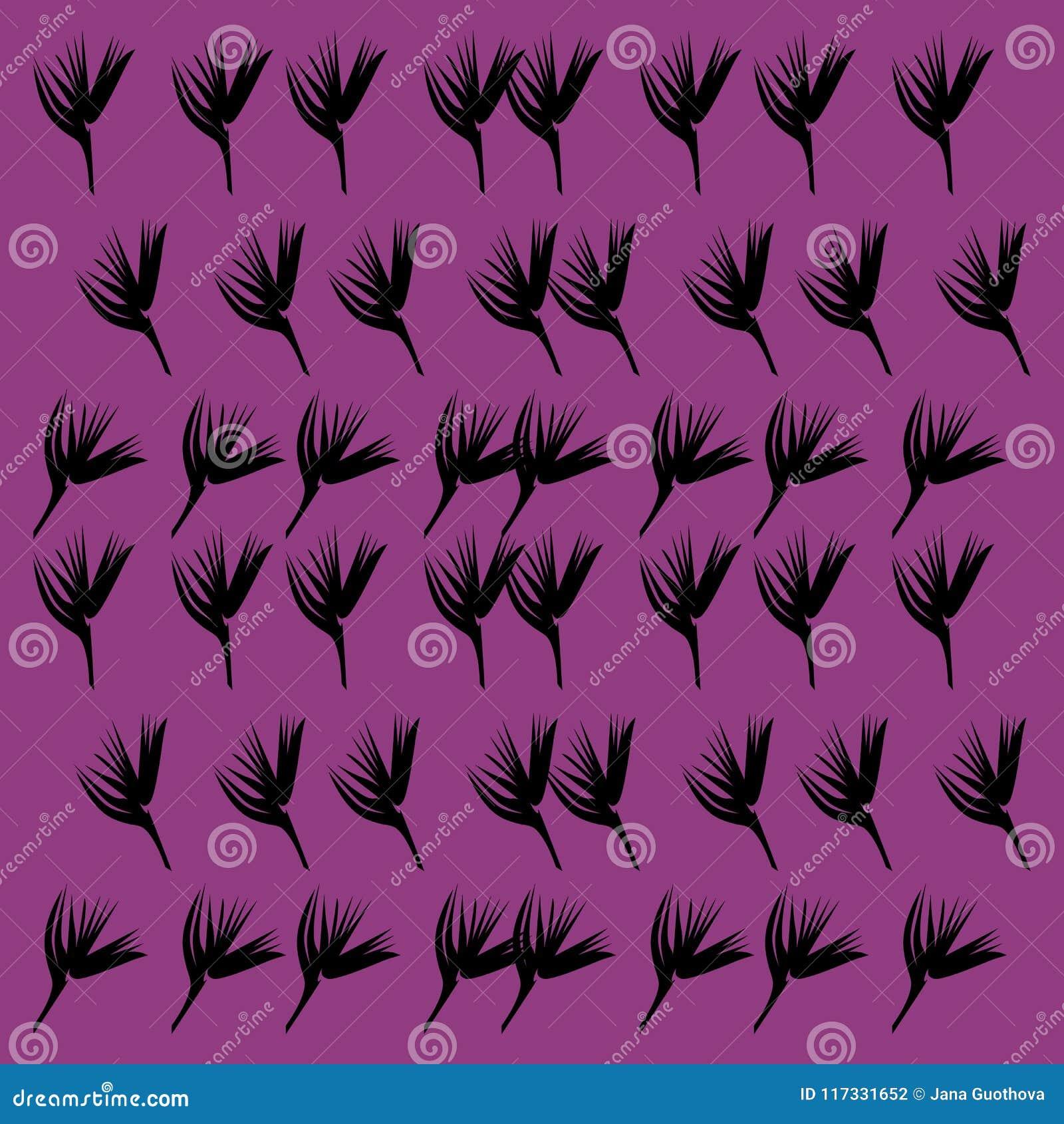 Paradise Vint Flowers Pink Black Stock Illustration Illustration