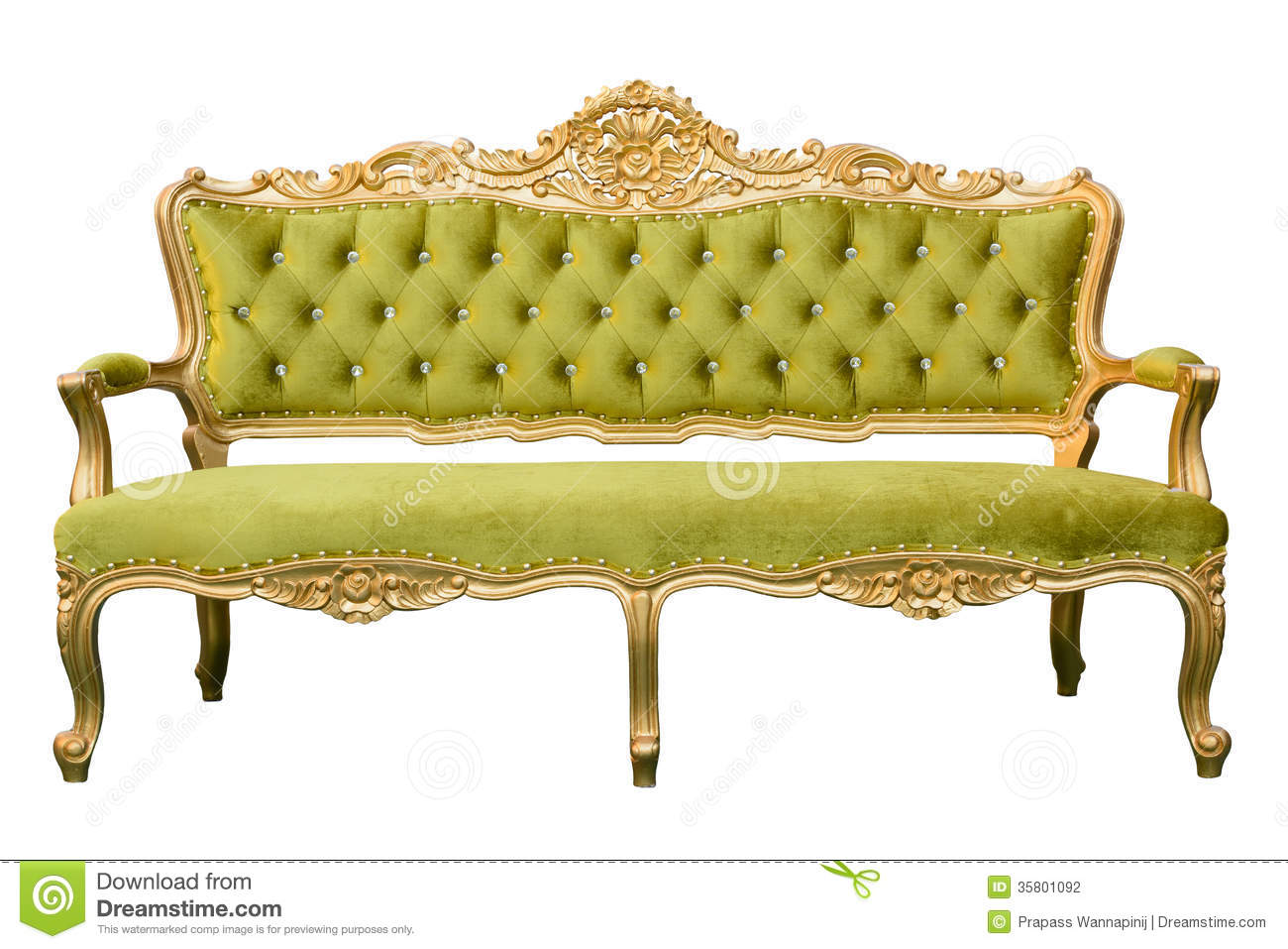 White Vintage Couch. Luxury Vintage Green Couch Isolated Stock Photography A