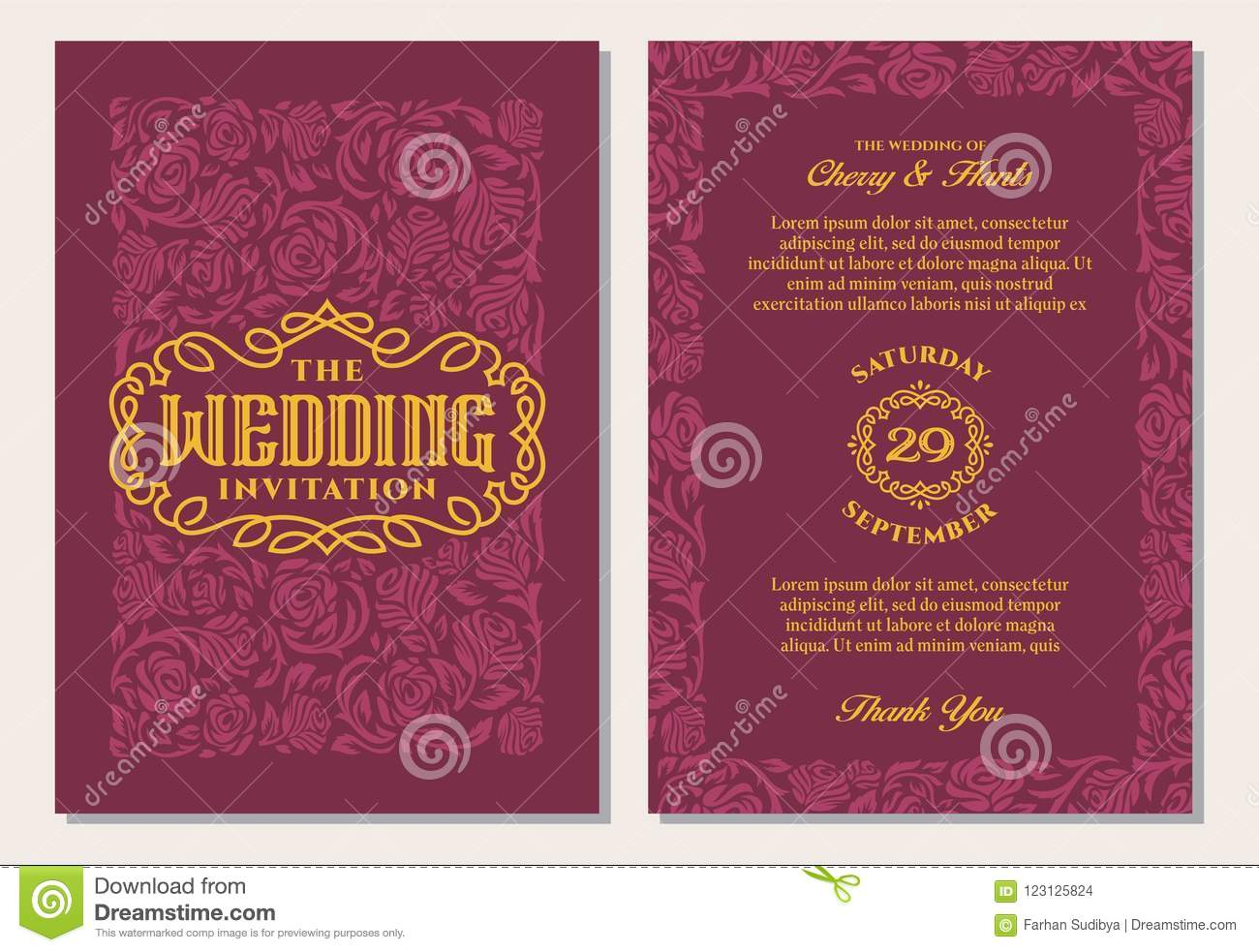Luxury Vintage Wedding Invitation Templates. Red Maroon Background ...