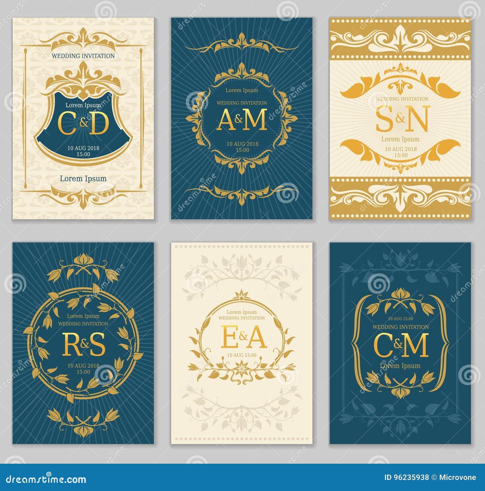 Luxury Vintage Wedding Invitation Vector Cards With Logo