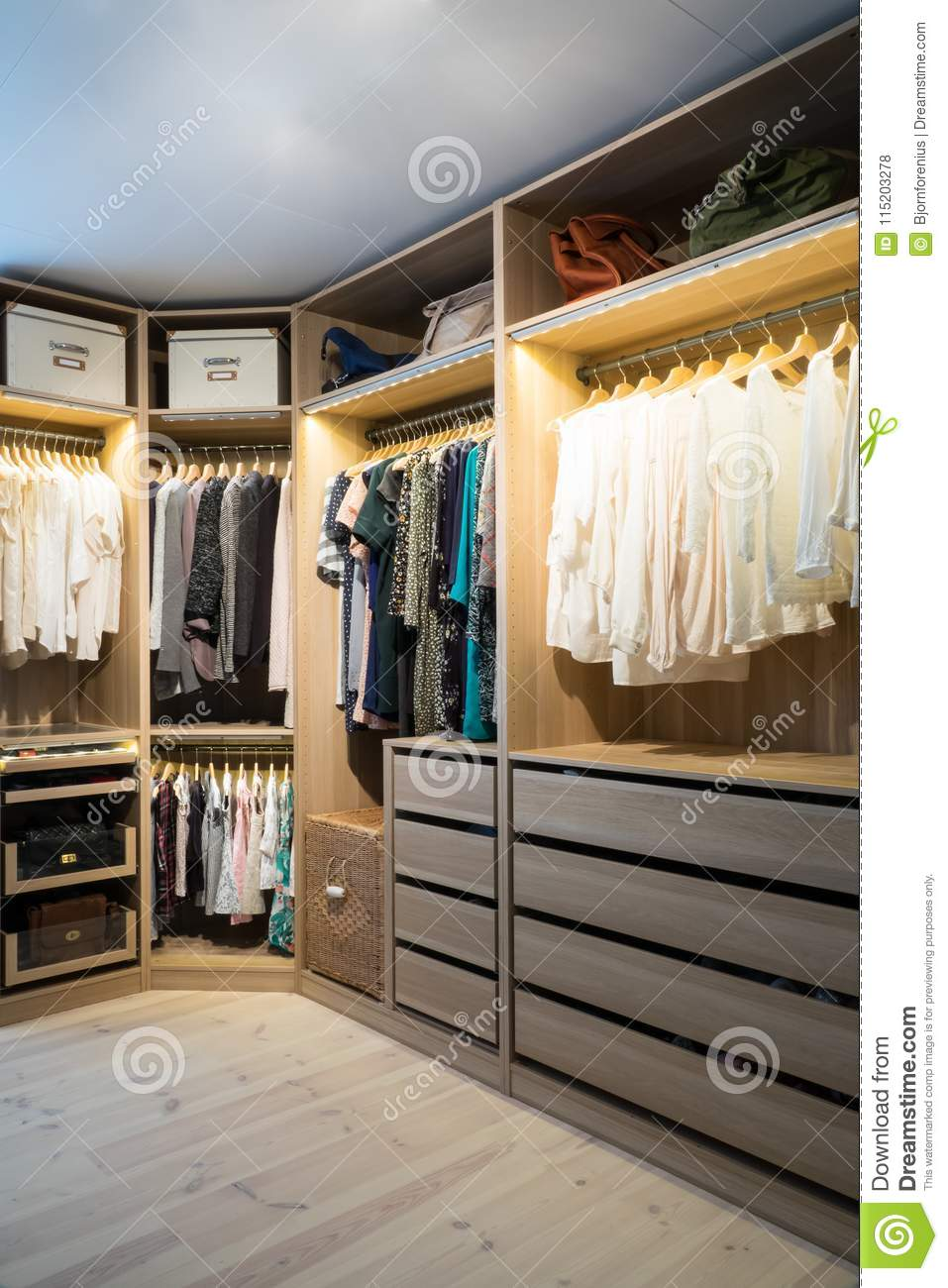 walk in closet lighting. Download Luxury Walk In Closet / Dressing Room With Lighting Stock Photo - Image Of Home