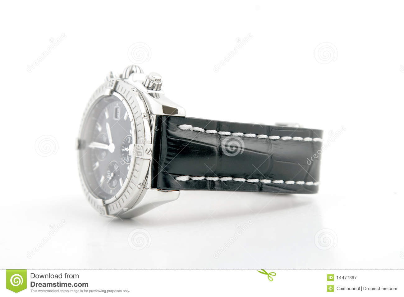 Luxury watch black leather and white gold