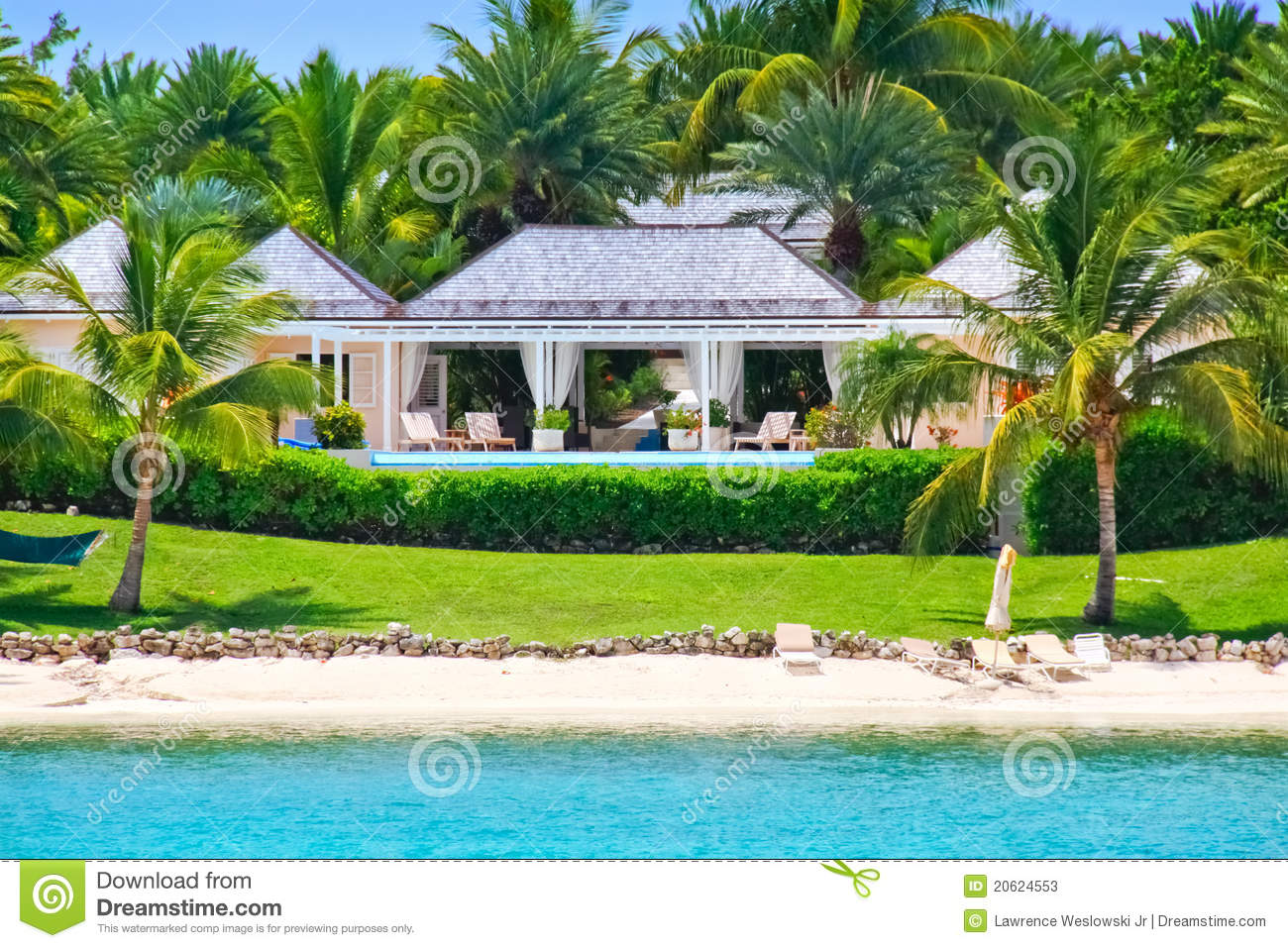 Luxury Waterfront Home With Pool On Antigua Stock Image Image 20624553