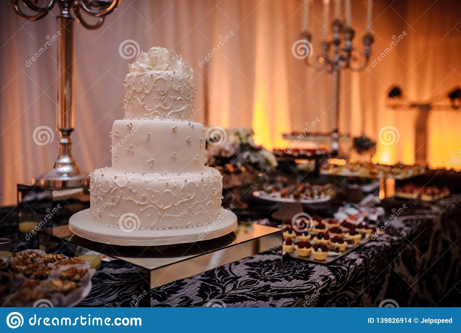 Luxury Wedding Candy Bar With Cake Pastries Macaroons And Cake