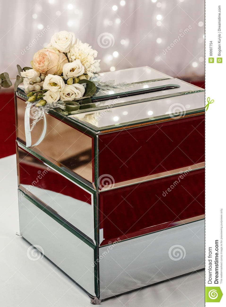 Luxury Wedding Gift Box With Roses And Expensive Golden Decor Ar
