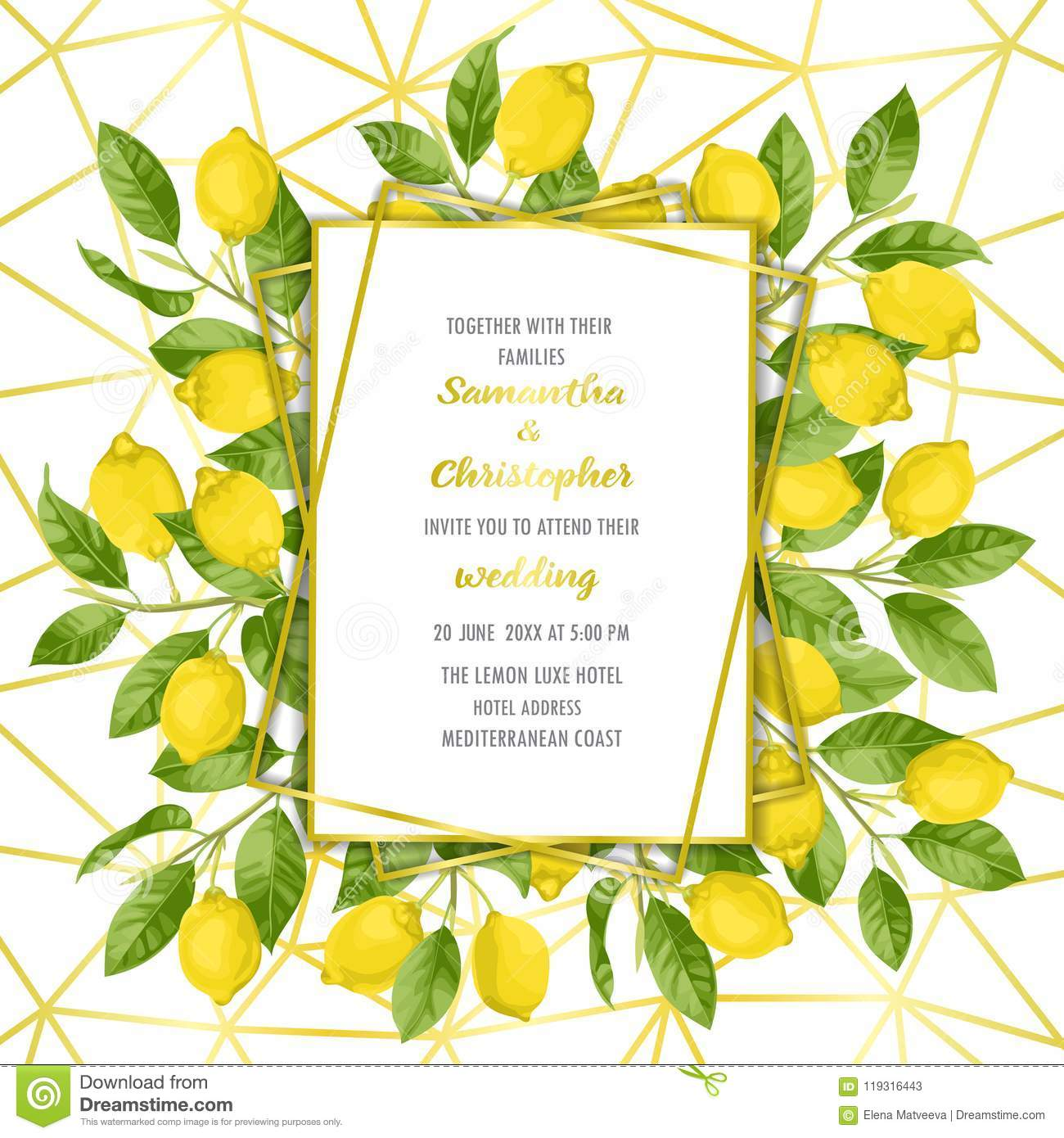 Luxury Wedding Invitation Card With Lemon Brunches Stock Vector ...