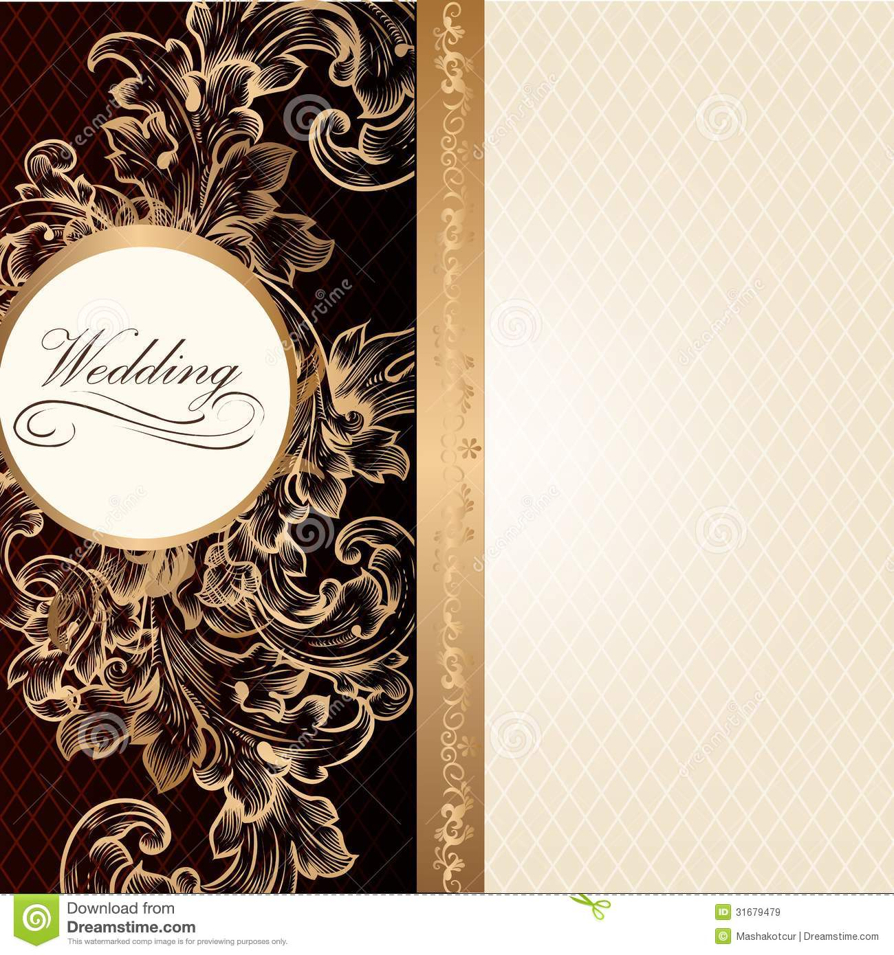 Luxury wedding invitation card in retro style with vintage ornam luxury wedding invitation card in retro style with vintage ornam stock vector illustration of filigree brown 31679479 stopboris Images
