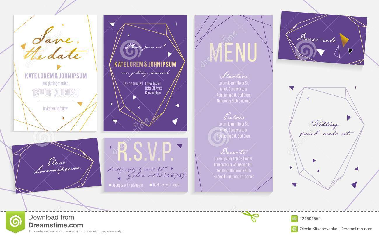 Luxury Wedding Invitation Card Set For Ceremony And