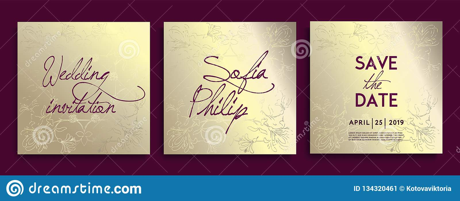 Luxury wedding invitation cards with gold Decorative Floral and Herbs. Set of card with gold flower, leaves.