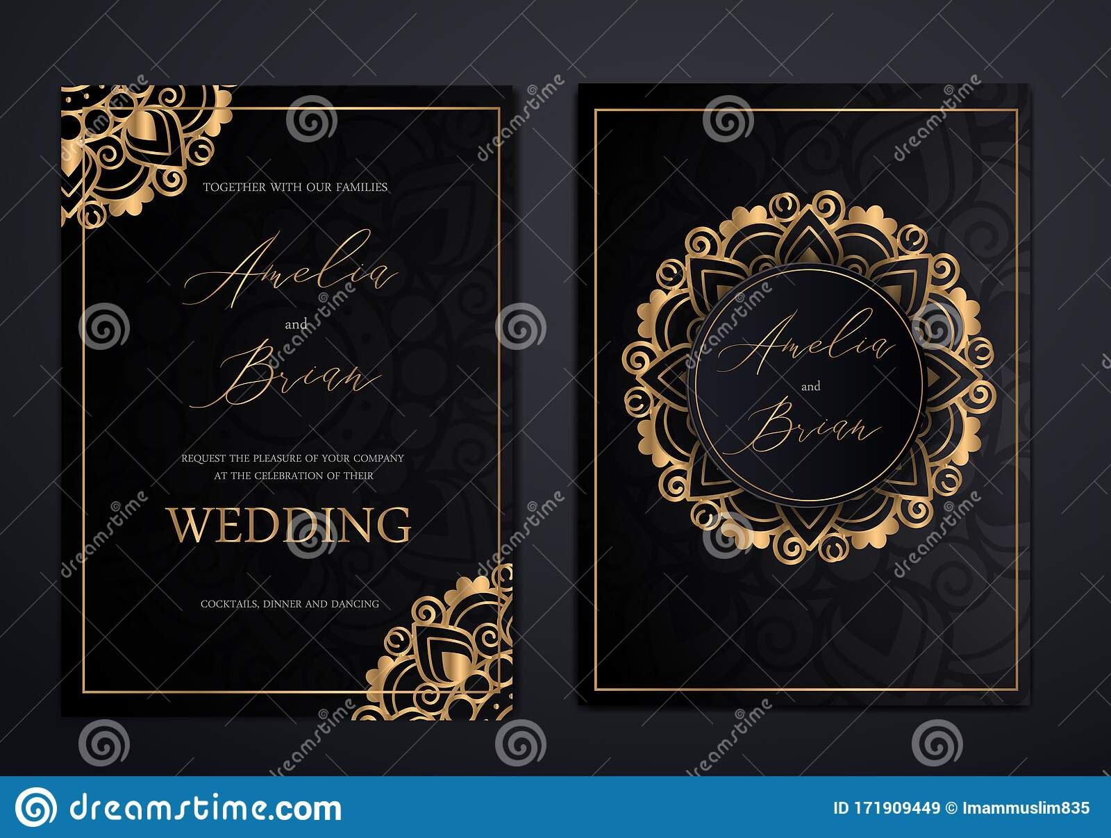 Luxury Elegant Wedding Invitation Cards Stock Vector - Illustration of  decoration, card: 171909449