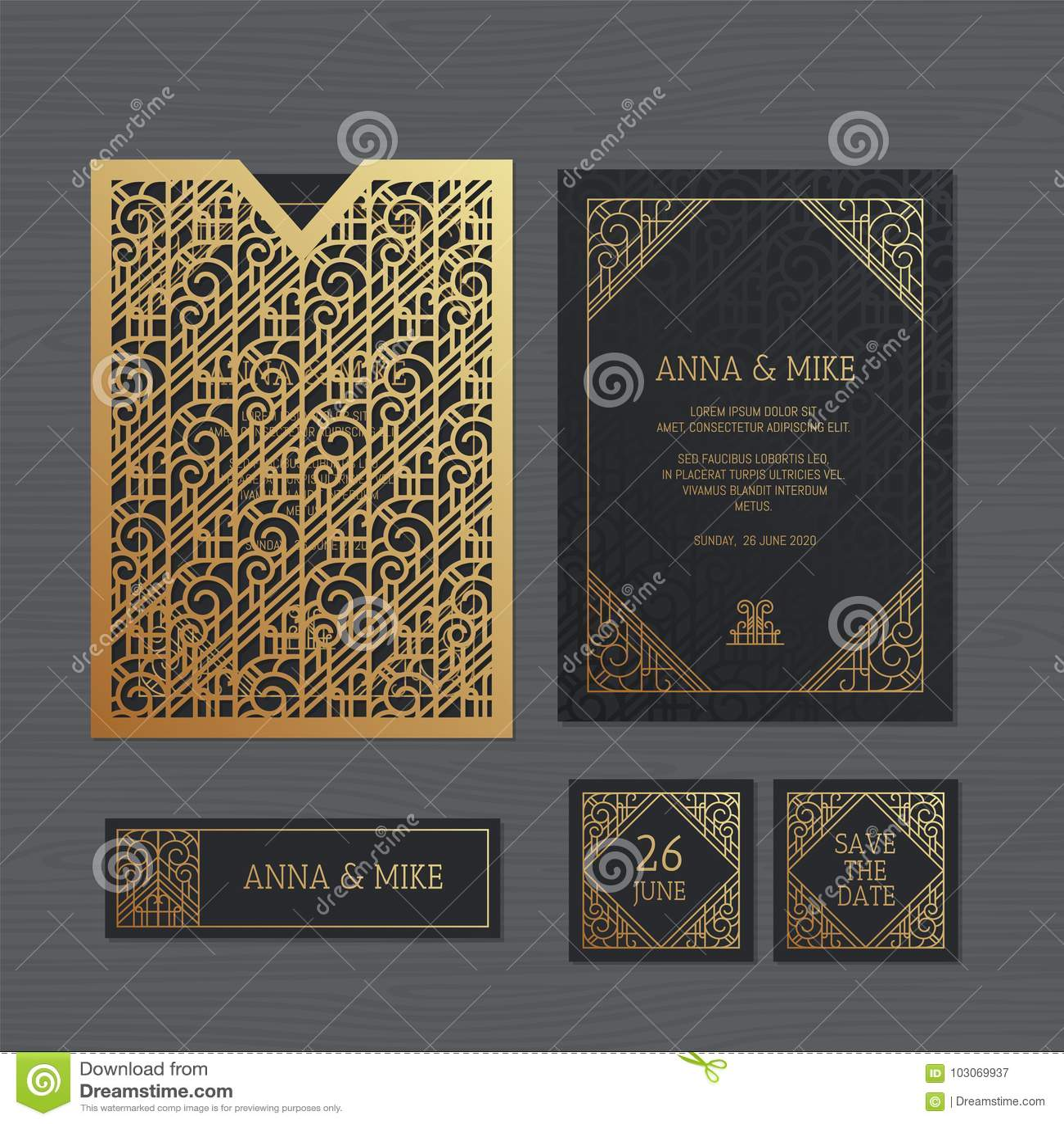 Luxury Wedding Invitation Or Greeting Card With Geometric Stock