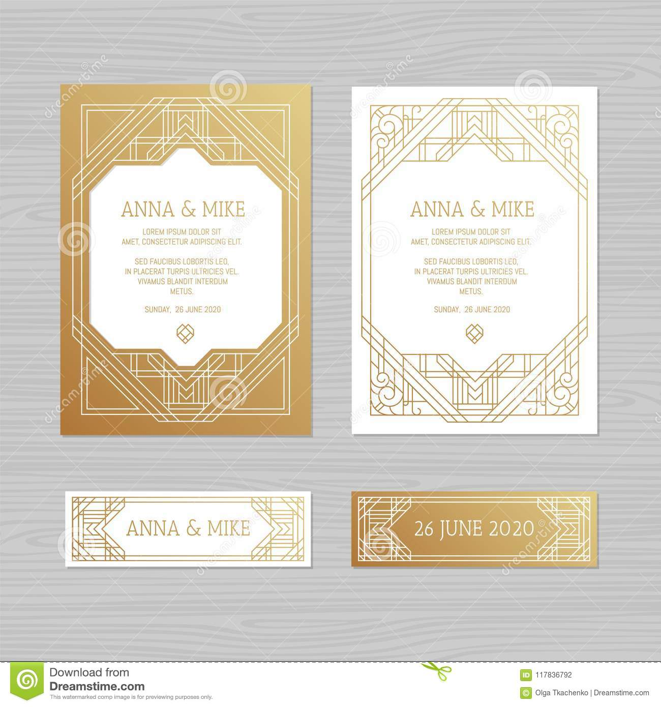 Luxury Wedding Invitation Or Greeting Card With Geometric Ornament Art Deco Style Paper Envelope Template Mockup For Laser: 1920s Wedding Invitation Clip Art At Reisefeber.org