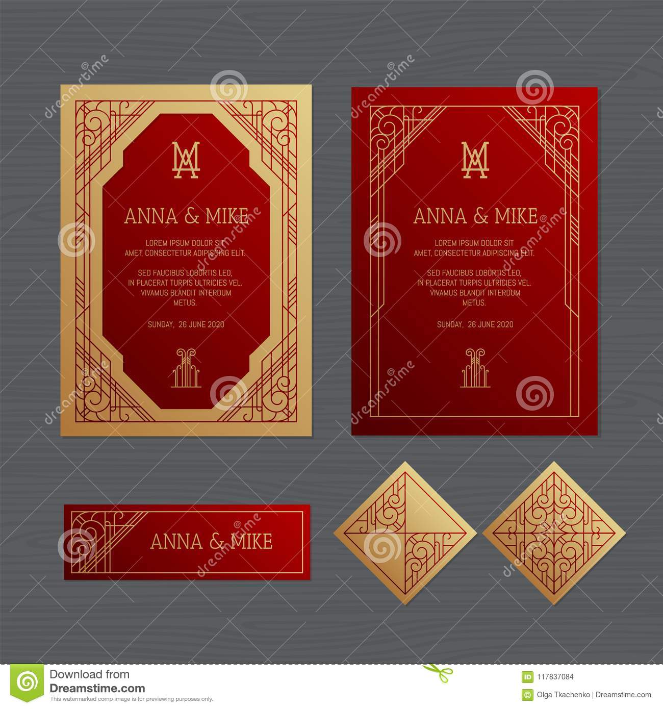 Luxury Wedding Invitation Or Greeting Card With Geometric Orname ...