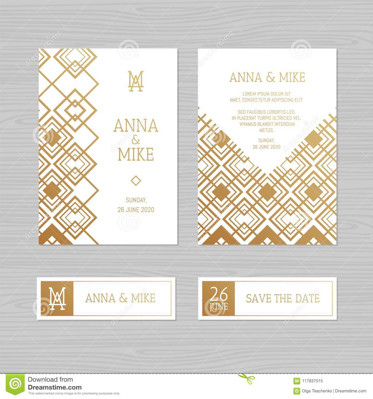 Luxury wedding invitation or greeting card with geometric ornament. Art Deco style. Vector illustration.