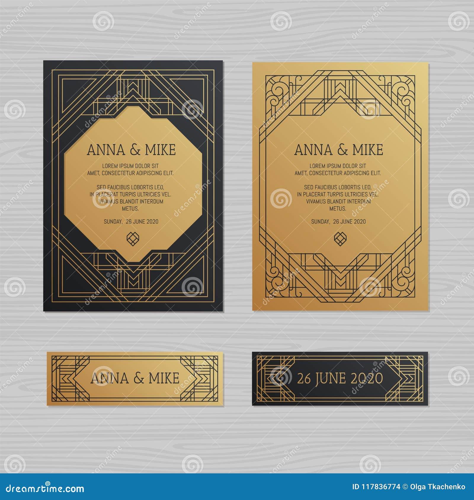 luxury wedding invitation or greeting card with geometric ornament
