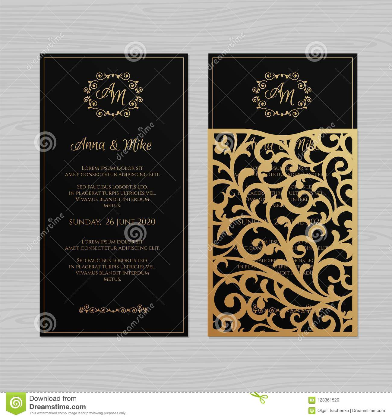 Luxury Wedding Invitation Or Greeting Card With Vintage