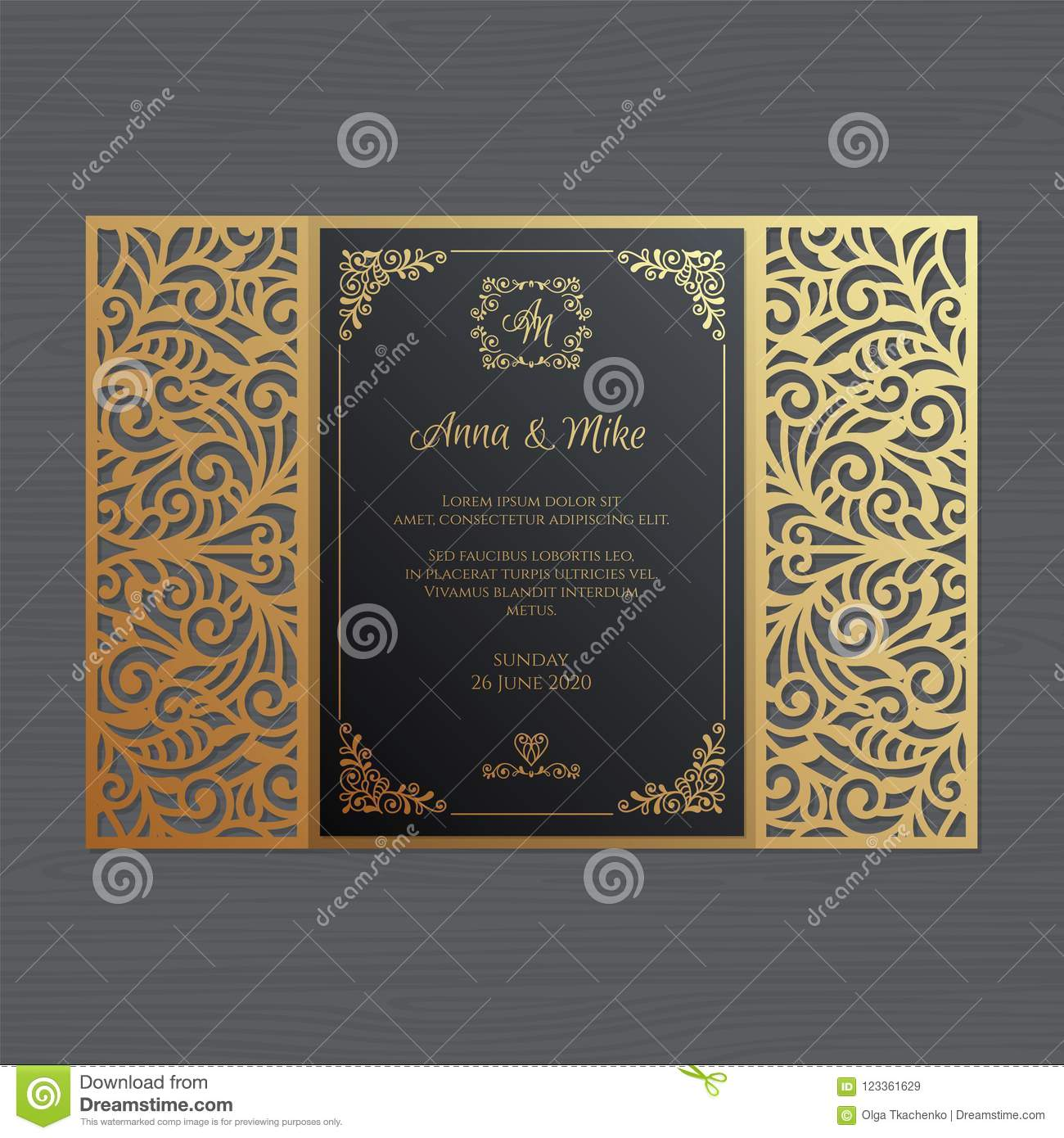 Luxury wedding invitation or greeting card with vintage floral o