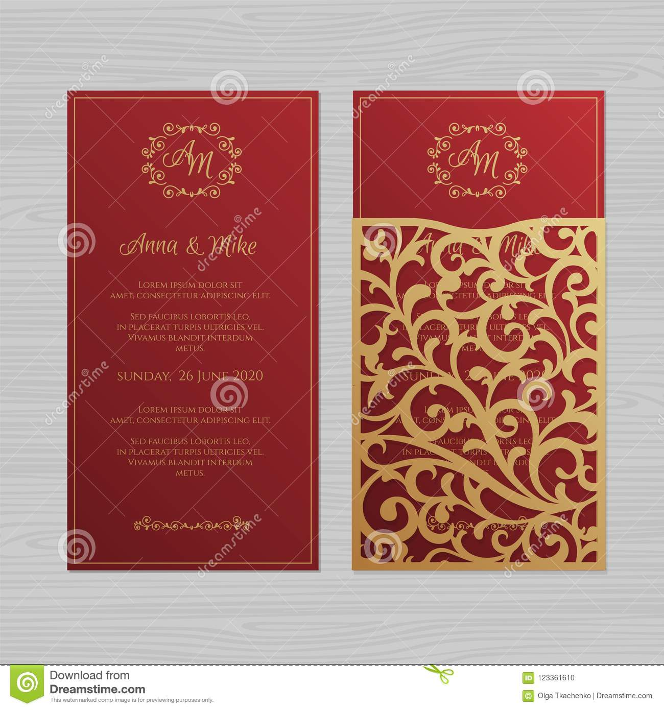 Luxury Wedding Invitation Or Greeting Card With Vintage Floral O ...