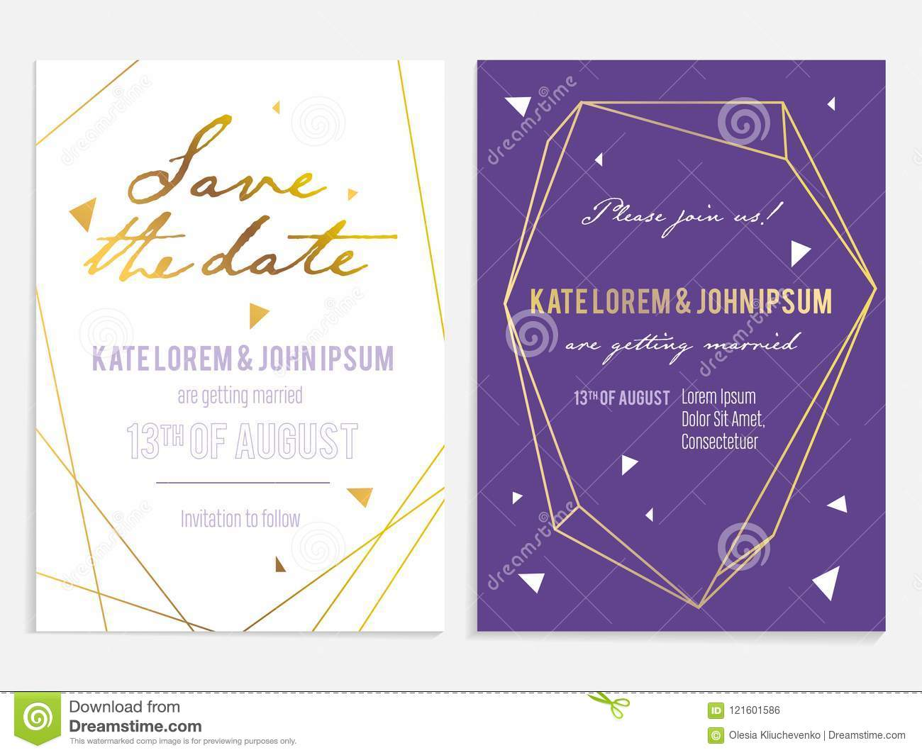 luxury wedding invitation and save the date card