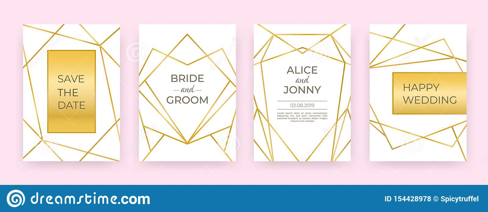 Luxury Wedding Line Posters Golden Fashion Borders Design