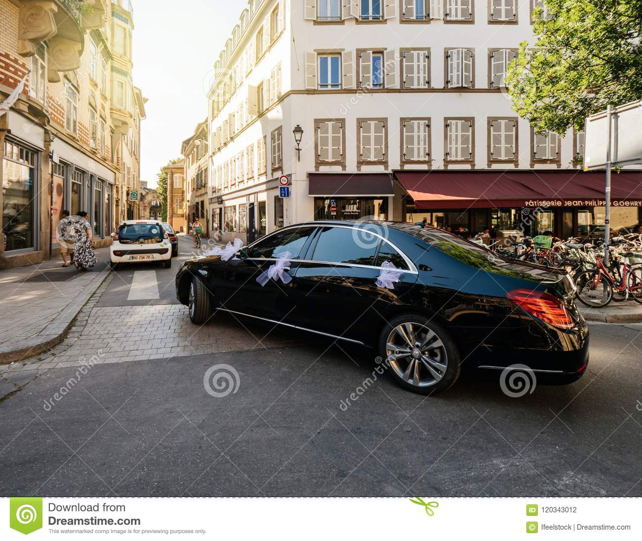 Luxury Wedding Mercedes Benz Limousine In City Editorial