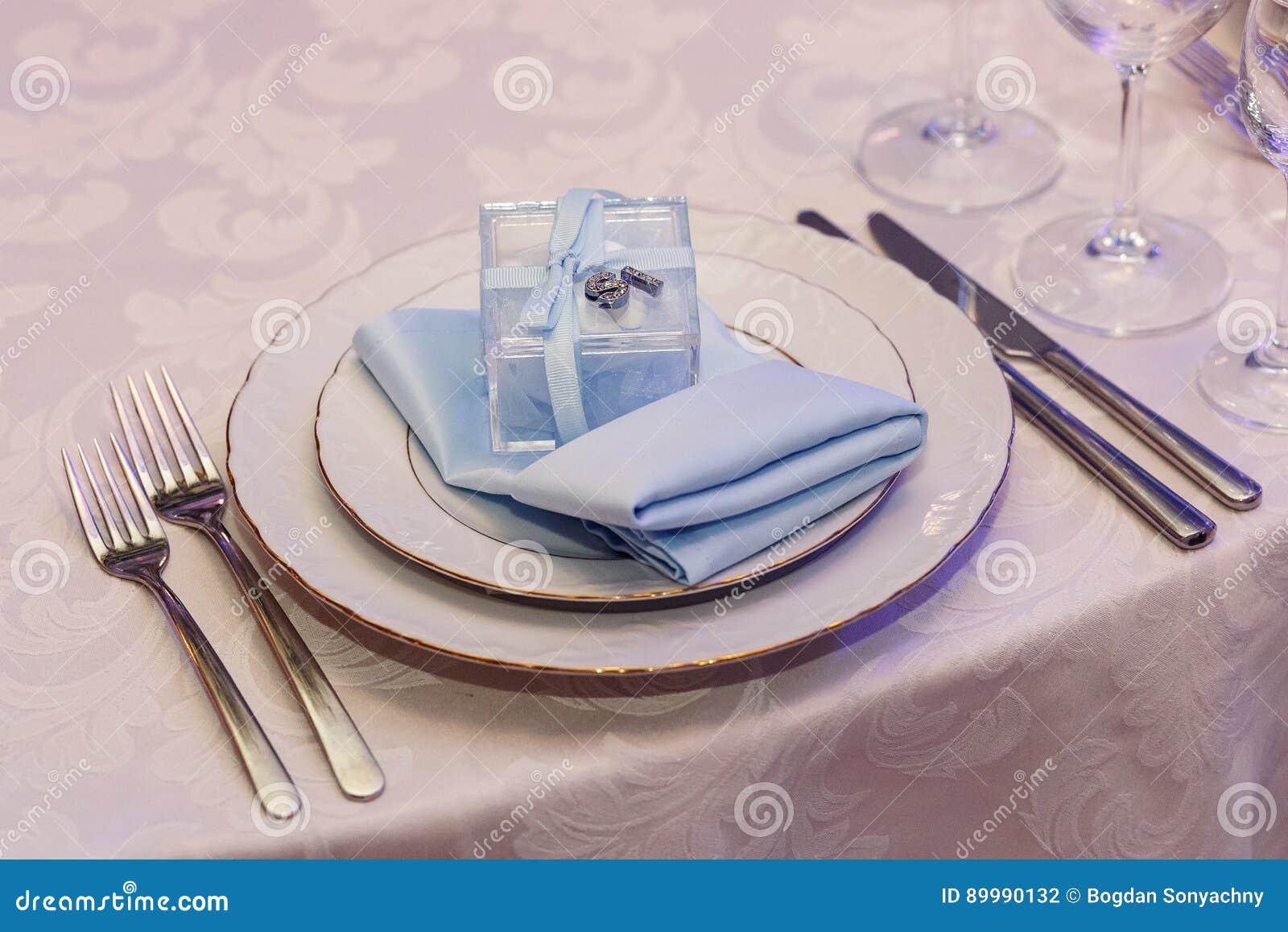 Luxury Wedding Reception Stylish Glasses Plates On Napkins And