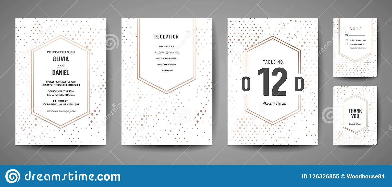 Luxury Wedding Save the Date, Invitation Cards Collection with Gold Foil Polka Dots and Monogram Logo design template