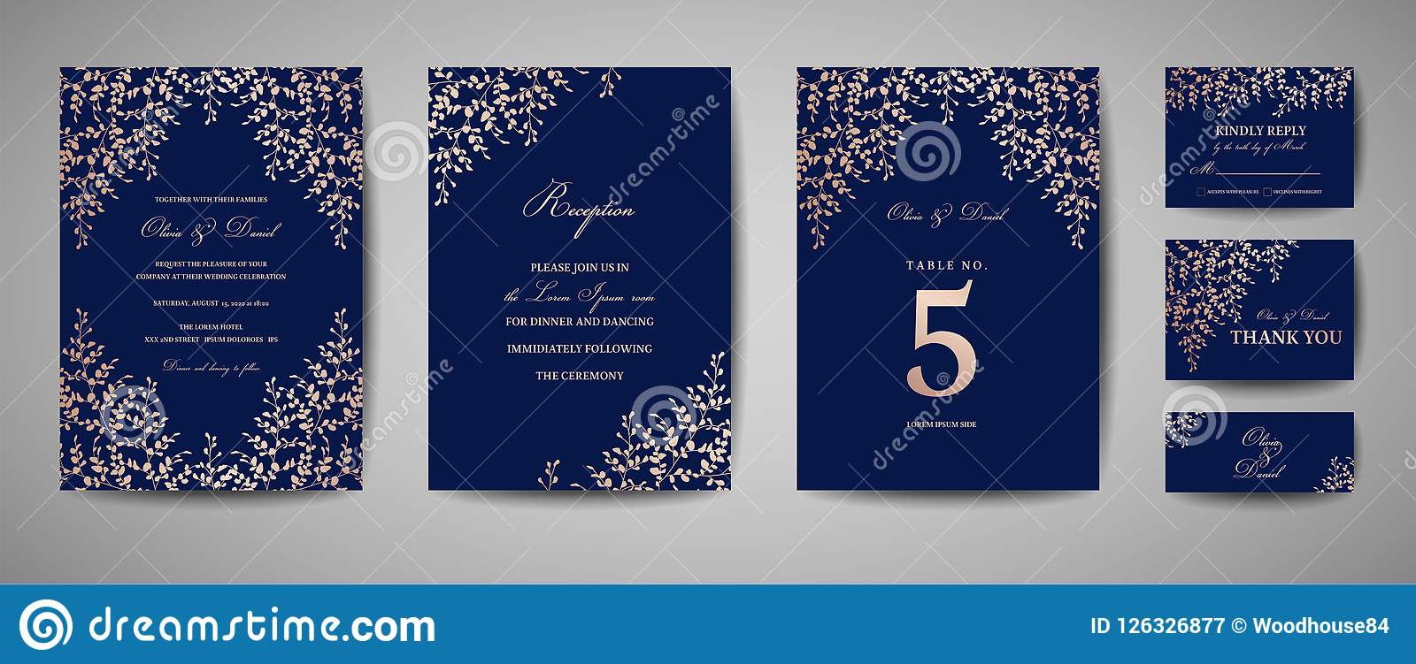 Luxury Wedding Save The Date Invitation Navy Cards Collection With