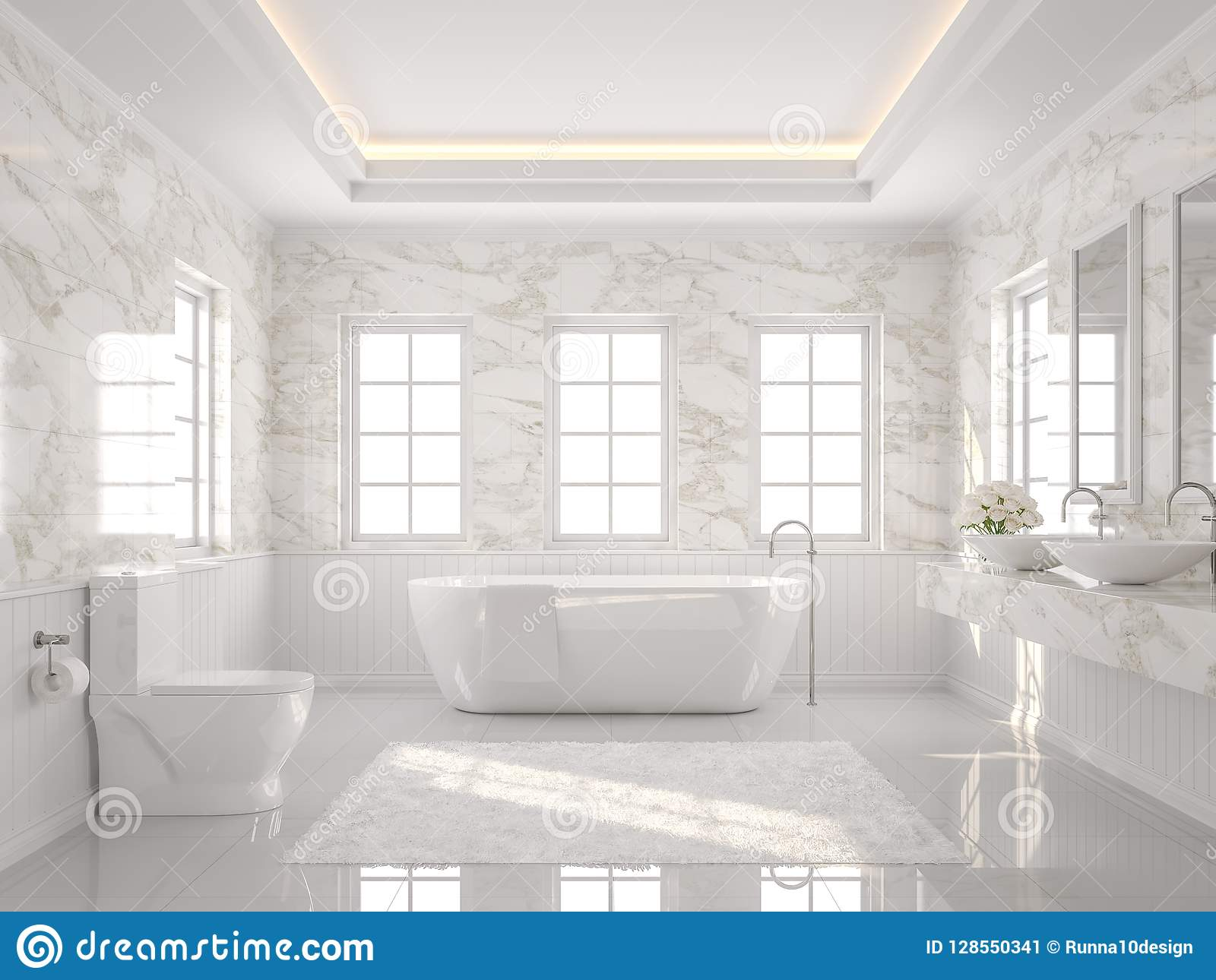 Luxury White Bathroom With Marble Wall 3d Render Stock Illustration Illustration Of Marble
