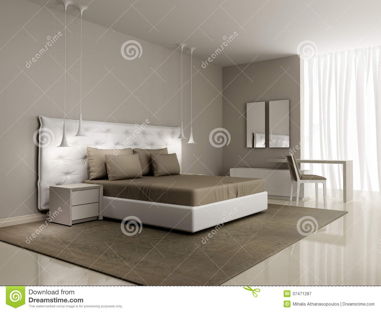 Luxury White Bedroom With Buttoned Bed Stock Image Image