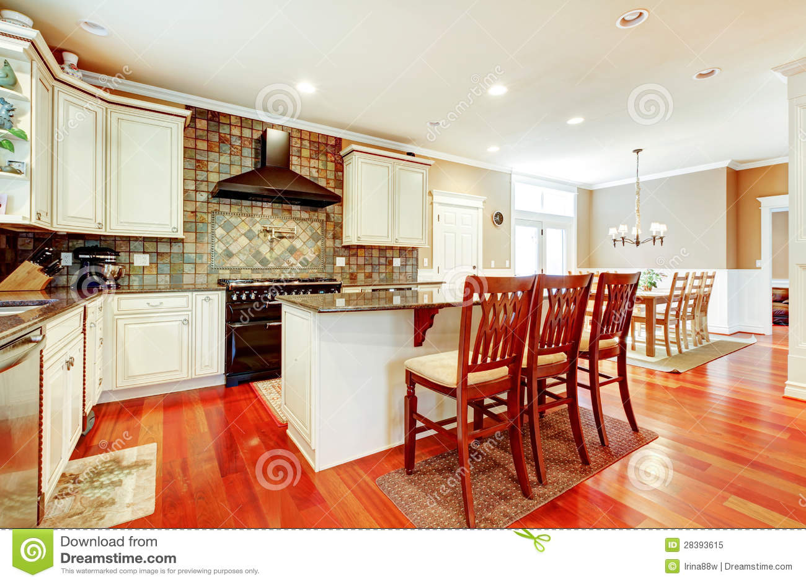 astonishing luxury kitchen island chairs | Luxury White Kitchen With Cherry Hardwood And Island With ...