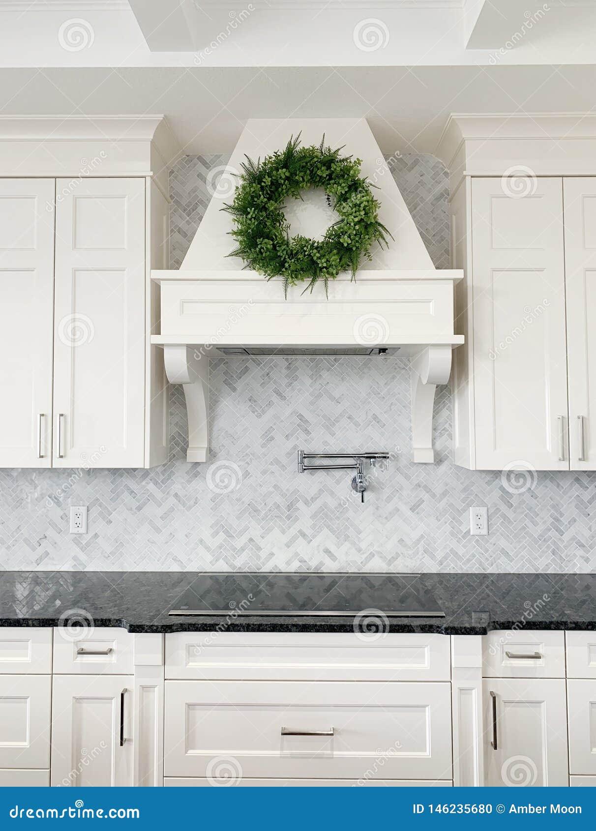- Luxury White Kitchen Marble Herringbone Backsplash Stock Photo