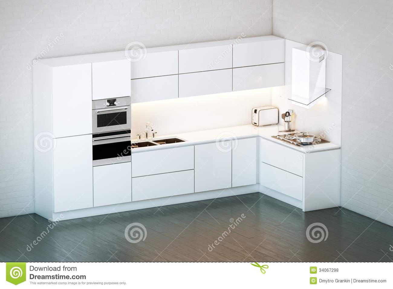 Luxury white kitchen in minimalist style stock for Cuisine minimaliste design
