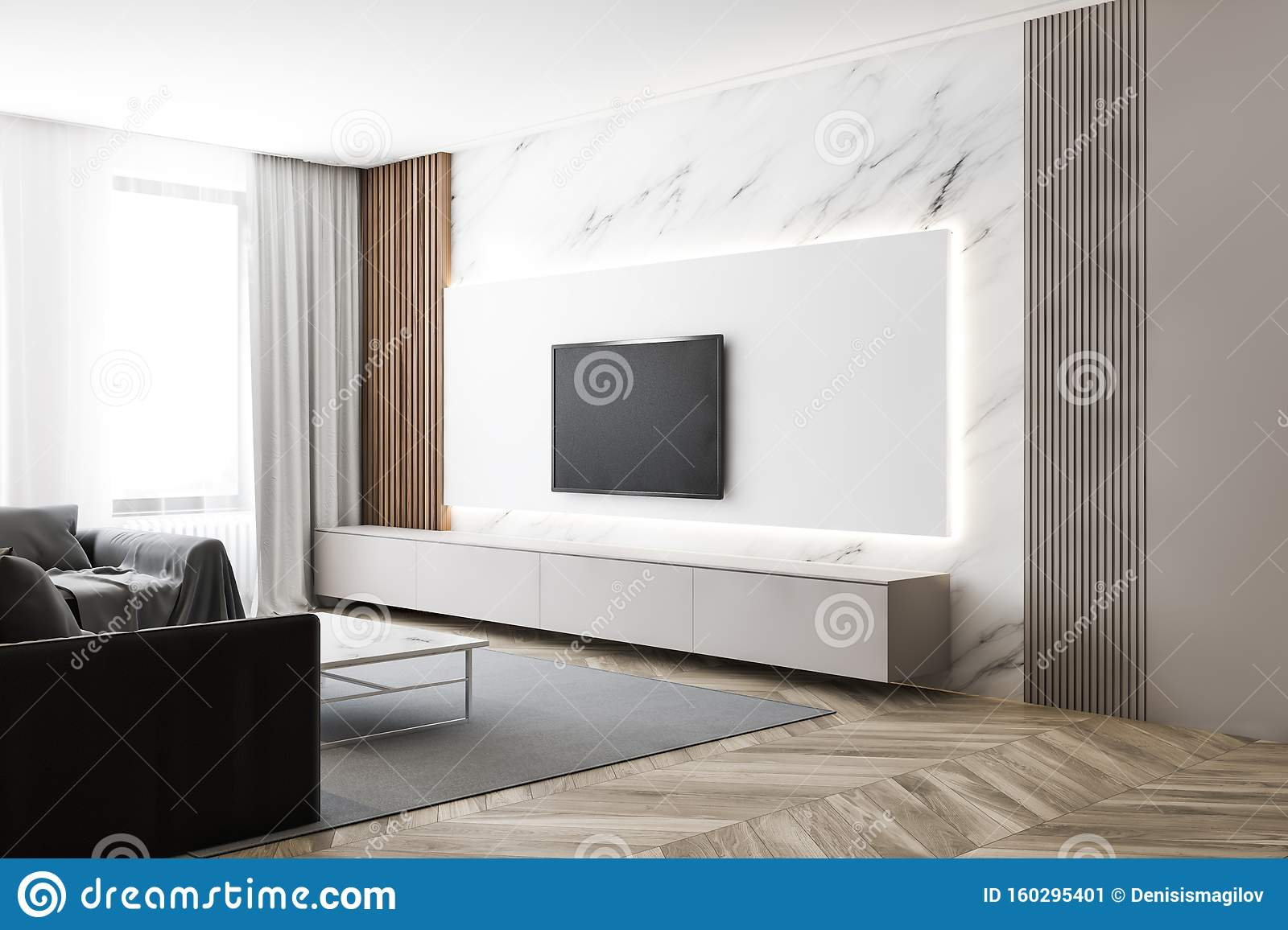 Luxury White Marble Living Room With Tv And Sofa Stock Illustration Illustration Of Elegance Coffee 160295401