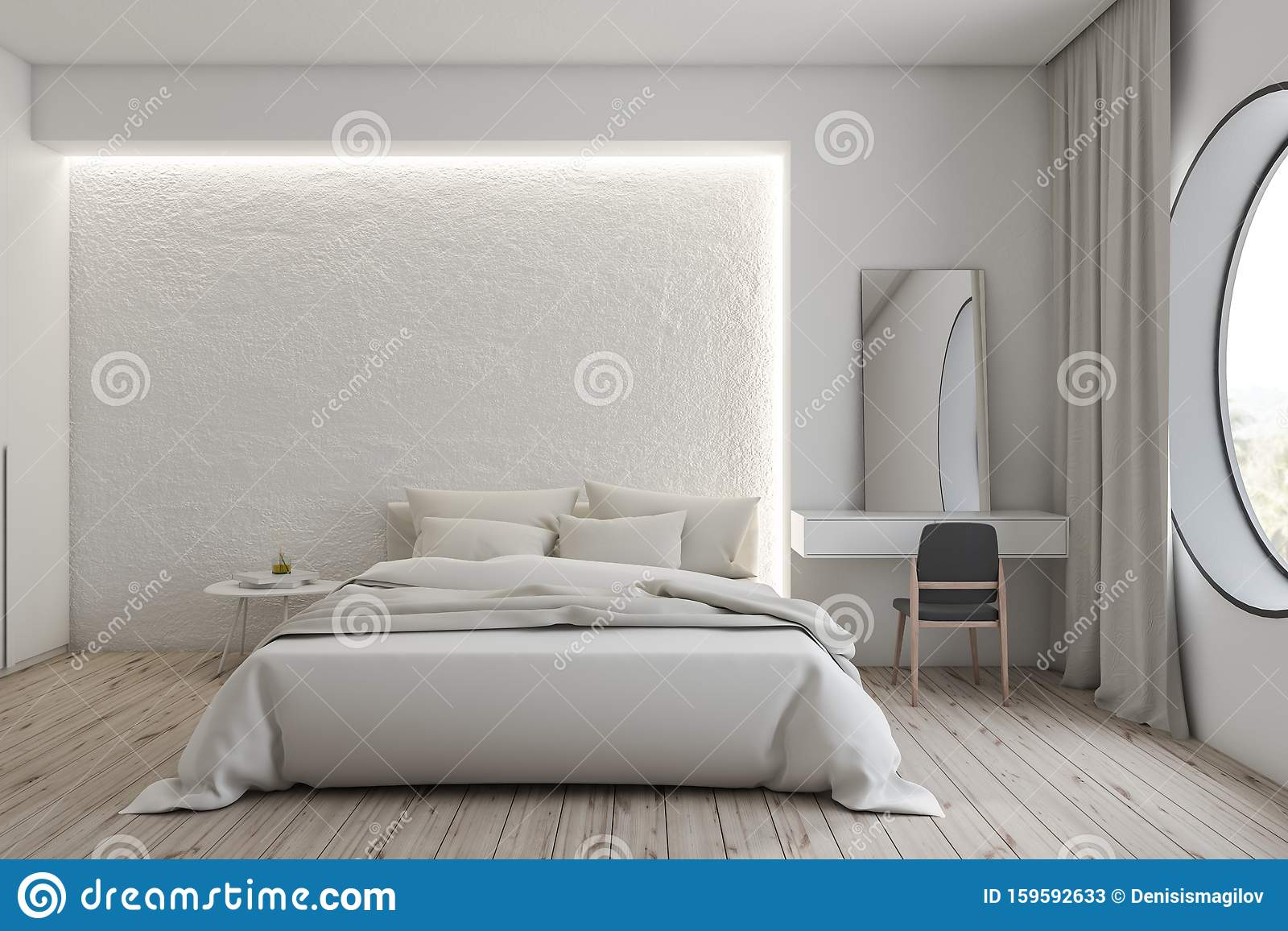 Luxury White Master Bedroom With Makeup Table Stock Illustration Illustration Of Design Comfortable 159592633