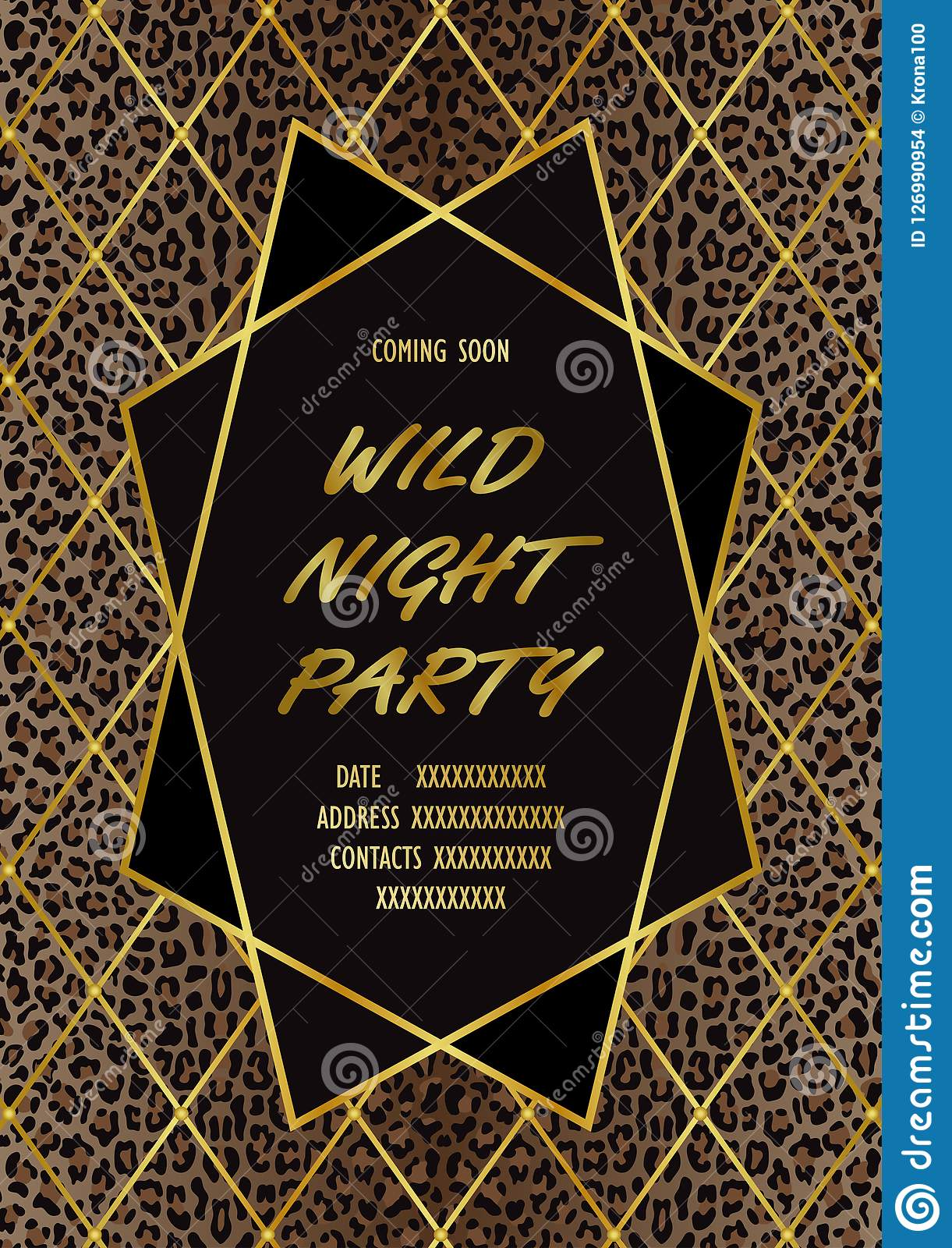 Luxury Wild Party Invitation Card With Leopard Print Stock