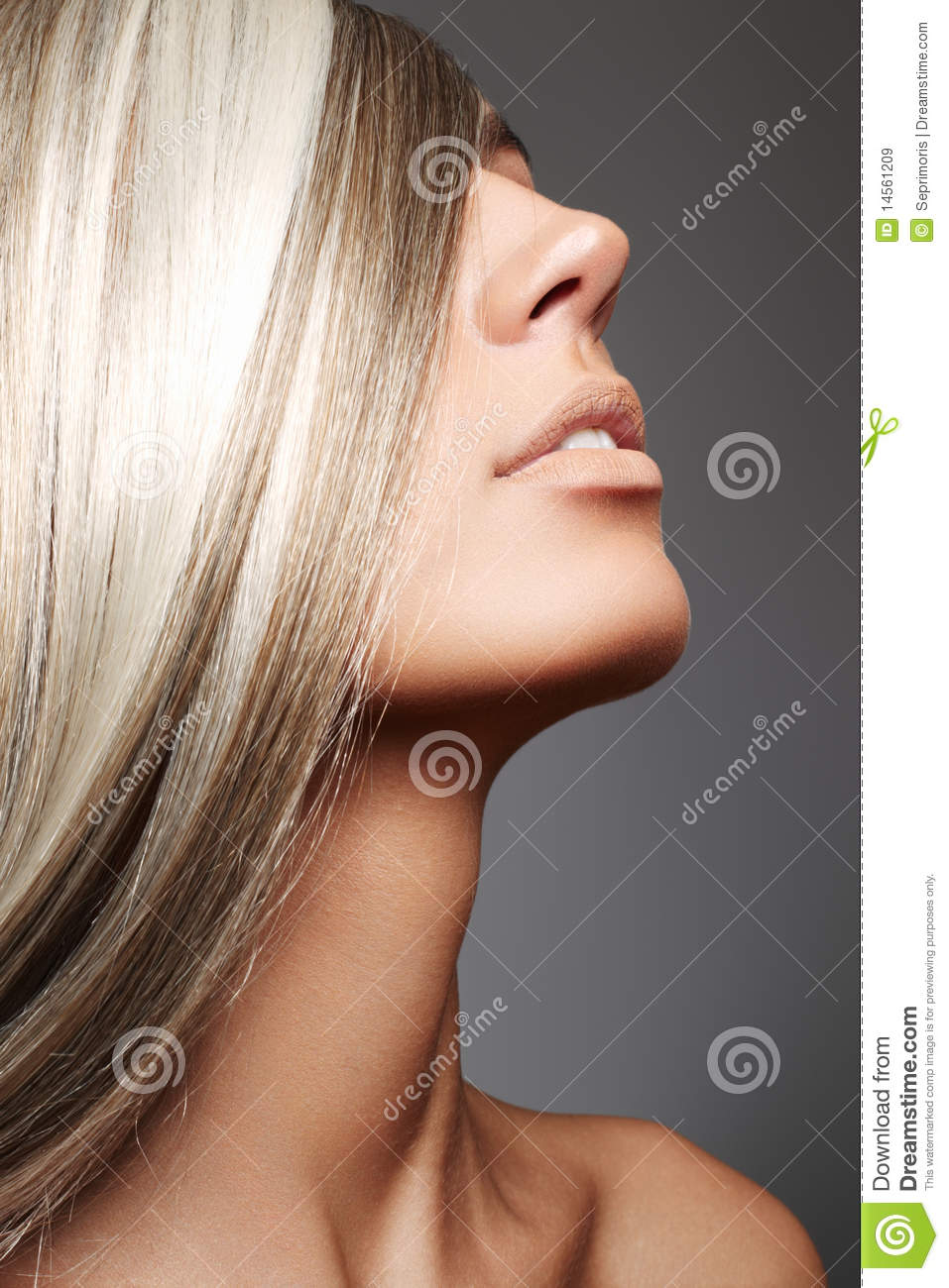 Luxury woman with long blond hair