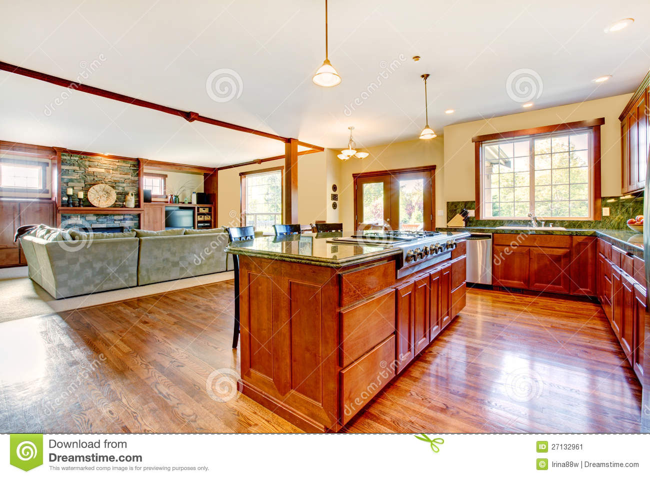 Luxury wood kitchen with living room with b stock image image 27132961 - Luxury kitchen room ...