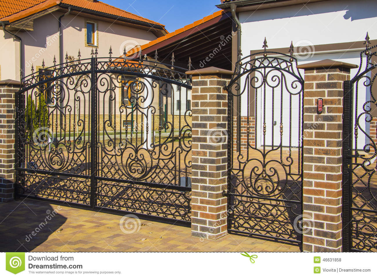 Luxury Wrought Iron Fence Detail Stock Photo Image 46631858