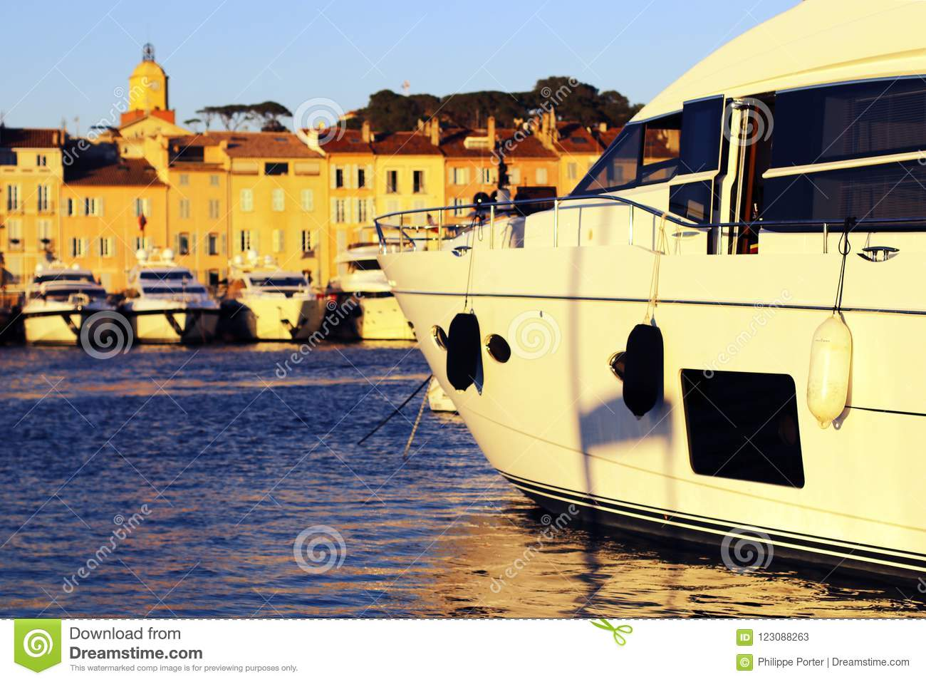 Luxury yachts at sunset in the ancient port of Saint-Tropez