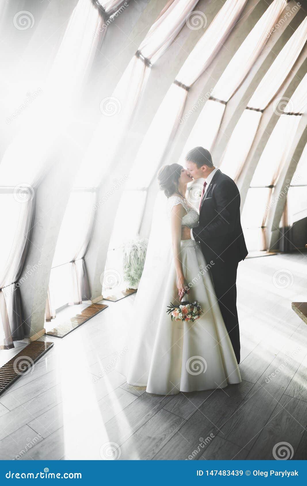Luxus heiratete die Hochzeitspaare, -braut und -br?utigam, die in der alten Stadt aufwerfen