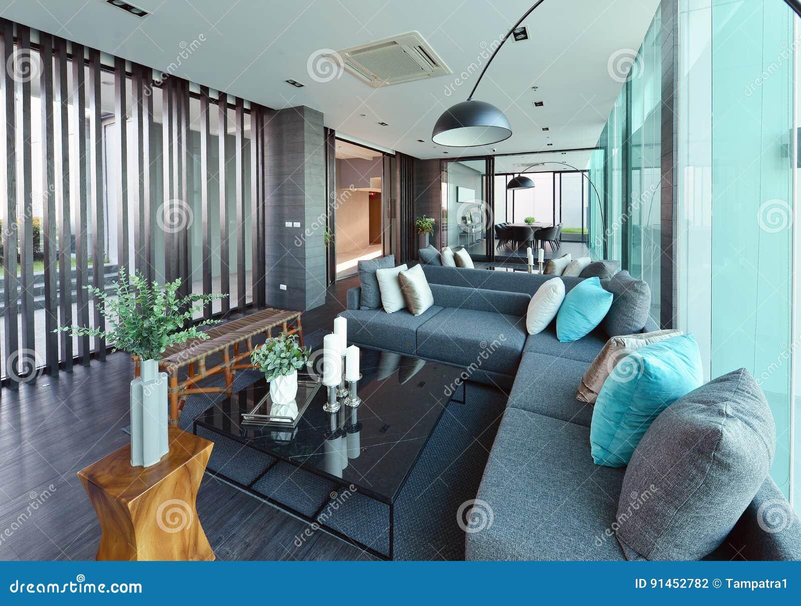 Luxus- moderner Wohnzimmerinnenraum und Dekoration, Innen-desi