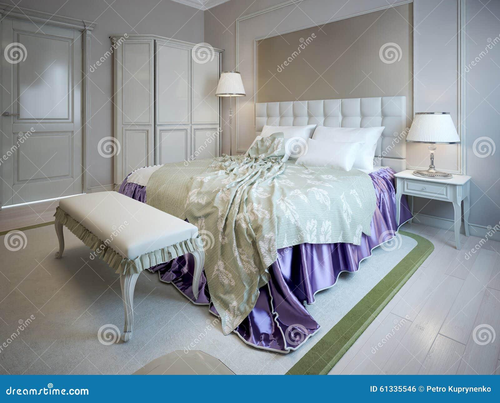Luxusbett Und Bank Im Schlafzimmer Stock Abbildung Illustration