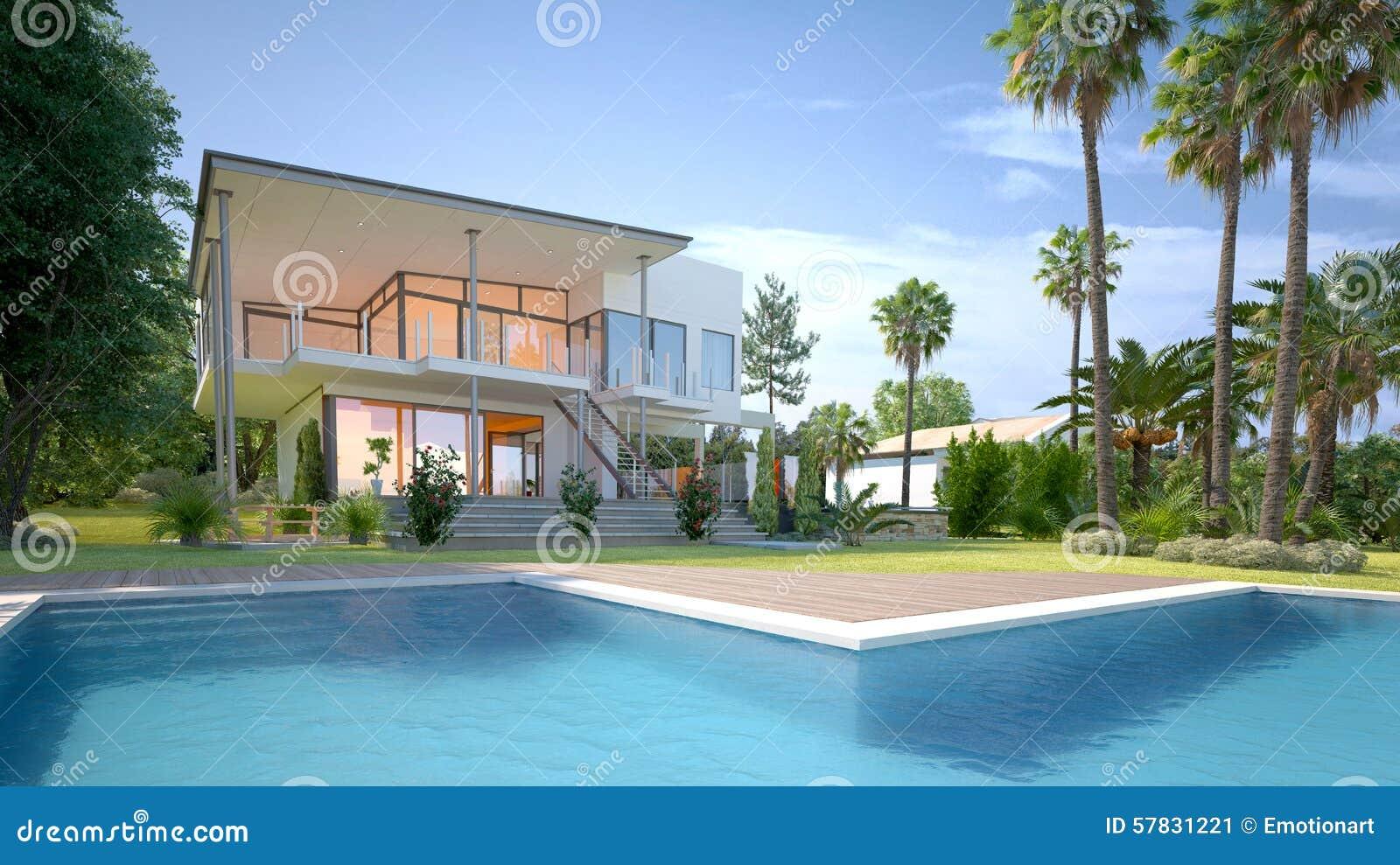 Luxushaus Mit Tropischem Garten Und Pool Stock Abbildung