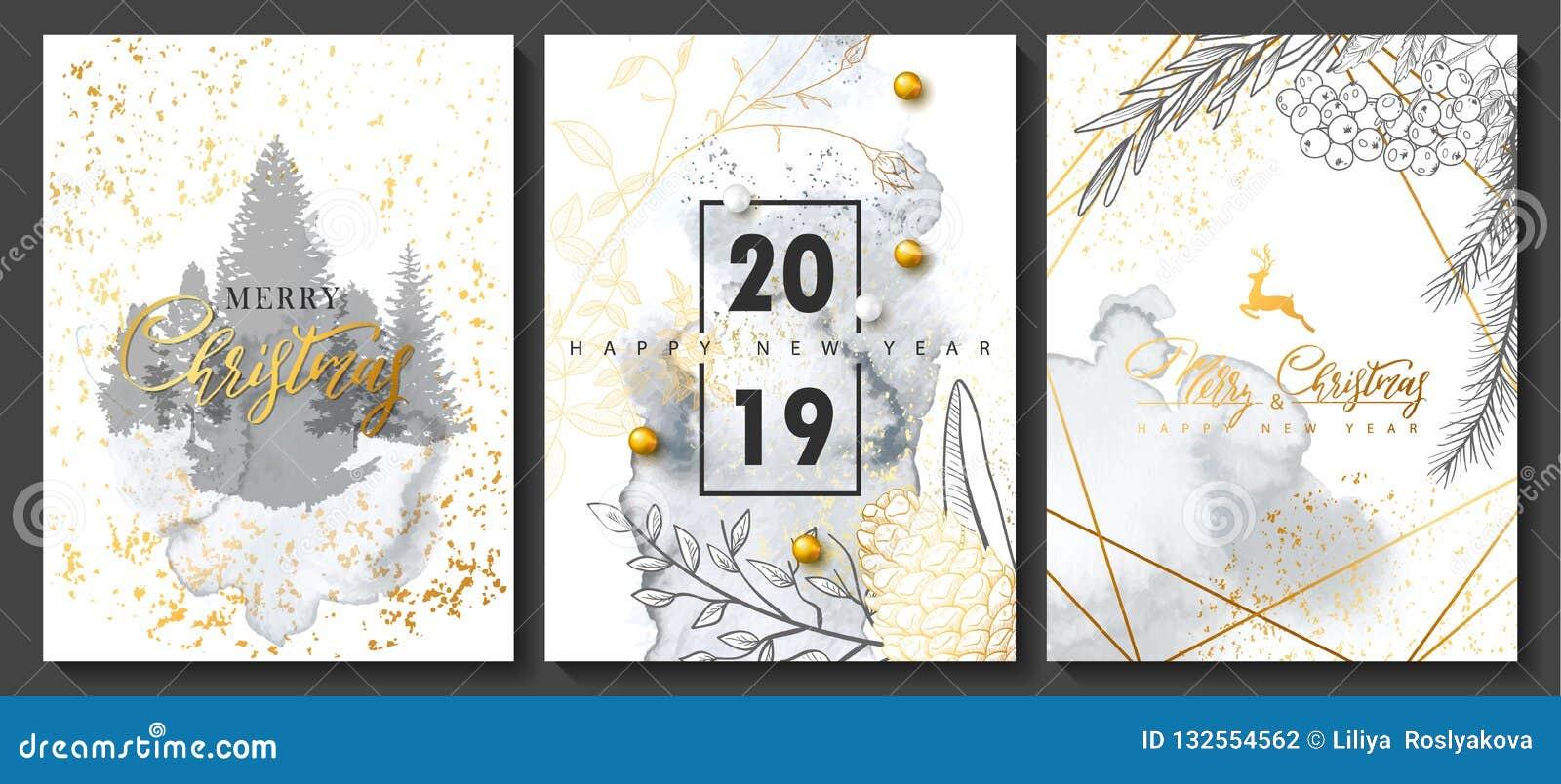 2019 Luxuskartensammlung der frohen Weihnachten und des guten Rutsch ins Neue Jahr mit Aquarellbeschaffenheit und goldener geomet