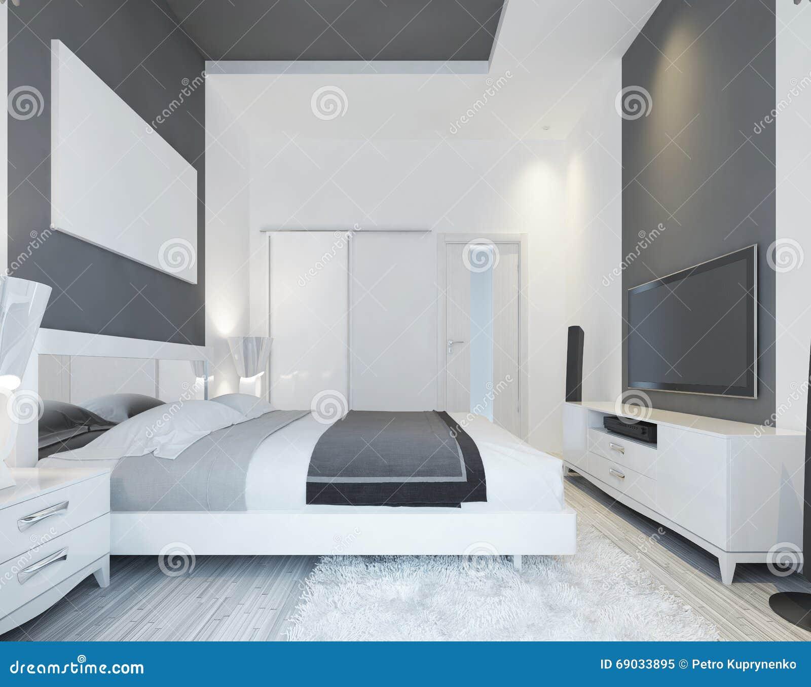 Luxusschlafzimmer mit einem bett in einer modernen art stock ...